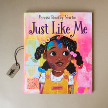 Load image into Gallery viewer, just-like-me-hardcover-picture-book-cover-illustrated-with-african-american-girl-on-a-pink-background