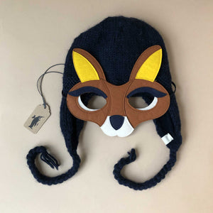 Hand-Knit Navy Kangaroo Hat & Felt Mask - Baby (Accessories) - pucciManuli