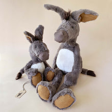Load image into Gallery viewer, les-baba-bou-donkey-stuffed-animal-in-two-sizes-with-ochre-accents-on-ears-and-feet