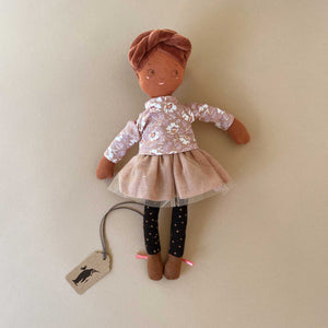 les-parisiennes-dolls-brown-skin-and-hair-rose-floral-shirt-and-rose-tulle-skirt-with-black-leggings