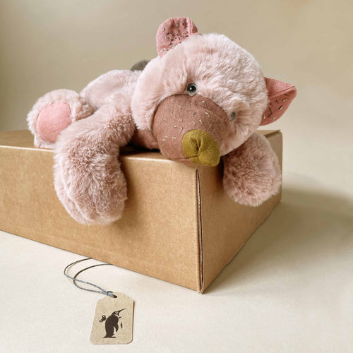 small-pink-bear-stuffed-animal-laying-on-gift-box