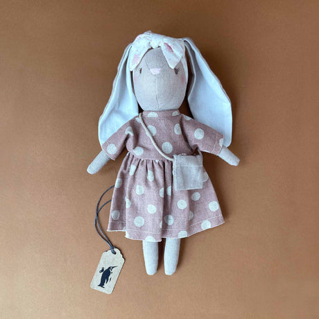 little-sofia-bunny-in-pink-linen-dress-with-white-polak-dots-and-floral-headband