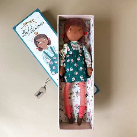 Mademoiselle Cerise Doll | Teal & Peach Print Dress - Dolls & Doll Accessories - pucciManuli