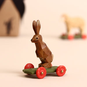 Male Rabbit Wooden Ring-Turned Pull-Along - Figurines - pucciManuli