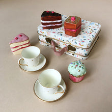 Load image into Gallery viewer, Matchbox Mouse Accessories | Cakes & Tea Set in White Merle Suitcase - Pretend Play - pucciManuli