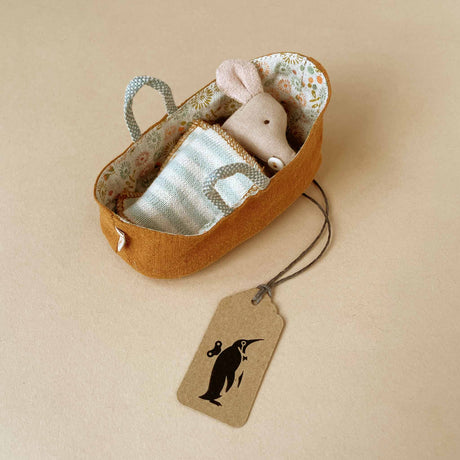 Matchbox Mouse Baby | Ochre Carrycot & Stripe Blanket - Dolls & Doll Accessories - pucciManuli
