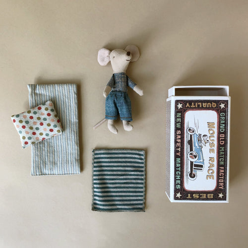 Matchbox Mouse Big Brother | Blue Jeans & Blue Stripe Blanket - Pretend Play - pucciManuli