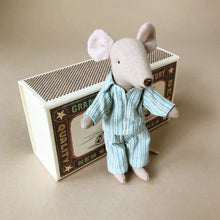 Load image into Gallery viewer, matchbox-mouse-big-brother-in-blue-stripe-pjs-next-to-box