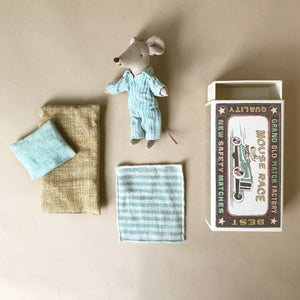 matchbox-mouse-big-brother-in-blue-stripe-pjs-with-striped-blanket-mustard-mattress-blue-pillow-and-matchbox