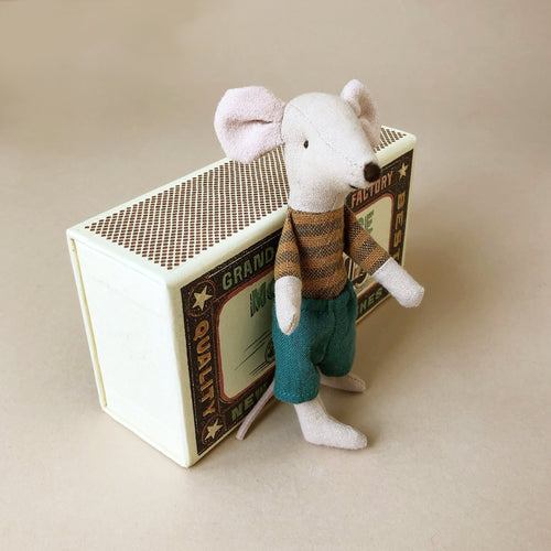 Matchbox Mouse Big Brother | Mustard/Blue Stripe & Shorts - Dolls & Doll Accessories - pucciManuli