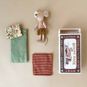 Matchbox Mouse Big Sister | Ochre Skirt & Red Stripe Blanket - Pretend Play - pucciManuli