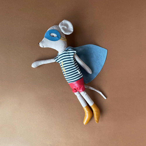 Matchbox Mouse Medium | Super Hero with Blue Stripe Shirt - Dolls & Doll Accessories - pucciManuli