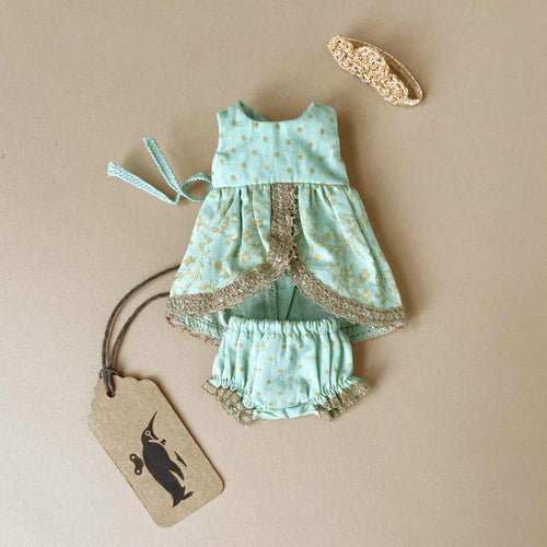 Matchbox Mouse Outfit | Mint Frilly Dress - Dolls & Doll Accessories - pucciManuli