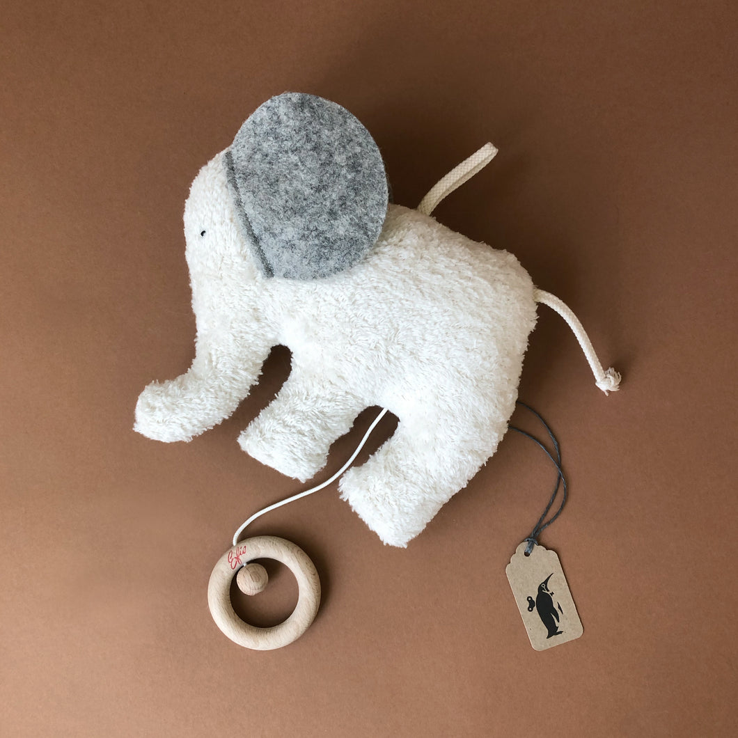 musical-elephant-toy-in-gray-felt-and-white-fuzzy-fabric-and-string-with-wooden-pully-that-plays-music-by-efie