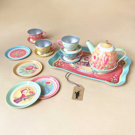 musical-tin-tea-set-enchanted-forest-with-four-cups-and-plates-one-tray-and-one-tea-pot
