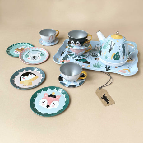 musical-tin-tea-set-arctic-circle-with-four-cups-and-plates-one-tray-and-one-teapot