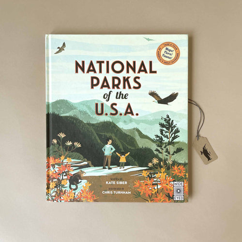 national-parks-of-the-usa-cover-featuring-a-parent-and-child-standing-in-a-mountain-park