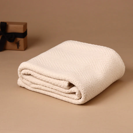 Natural Herringbone Baby Blanket - Blankets/Throws - pucciManuli