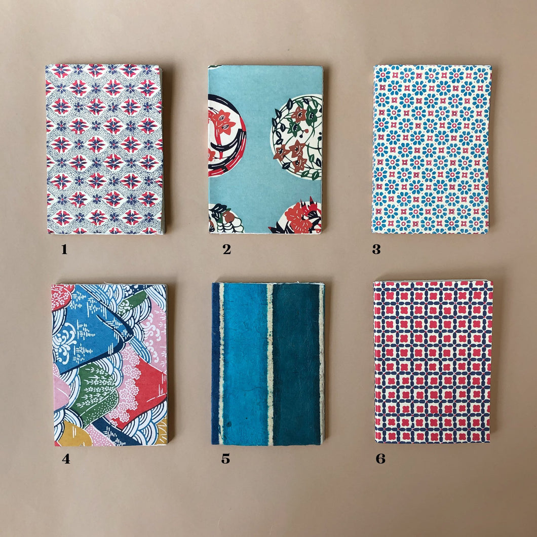 Petite Hand Bound Notebook | Blue-Multi - Stationery - pucciManuli