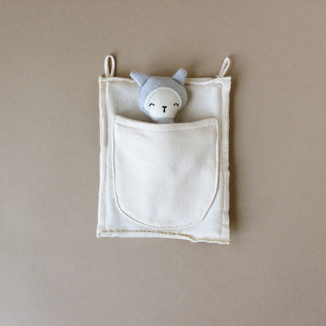 Organic Cotton Pocket Friend Bunny | Foggy Blue - Stuffed Animals - pucciManuli