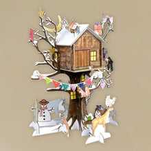 Load image into Gallery viewer, pop-and-slot-christmas-treehouse-advent-calendar-assembled