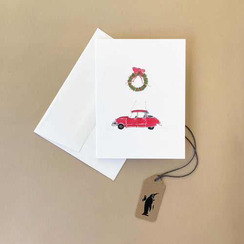 Red Citroen with Wreath Greeting Card - Greeting Cards - pucciManuli