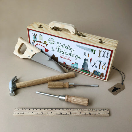 Tool Set in Wooden Case - Pretend Play - pucciManuli