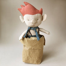 Load image into Gallery viewer, troll-in-bag-blue-scarf-with-red-hair-and-a-big-nose