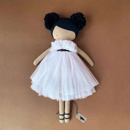 valentina-doll-in-pink-sparkly-tulle-dress-with-blaclk-ribbon-details-and-pom-pom-hairstyle