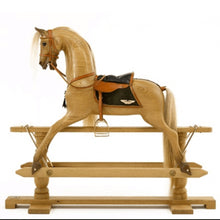 Load image into Gallery viewer, Waxed Oak Rocking Horse - Home Decor - pucciManuli