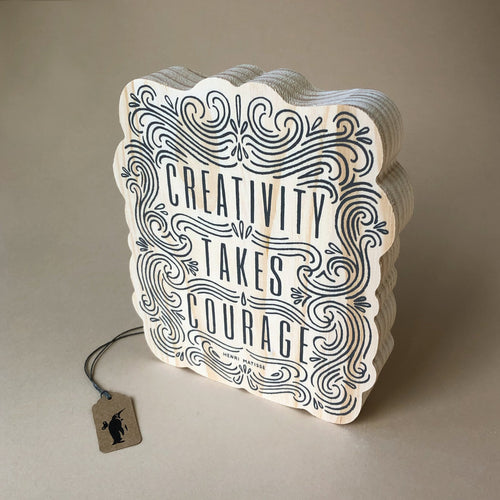 Wood Block Art | Creativity Takes Courage - Home Decor - pucciManuli