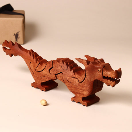 Wooden 3-D Chinese Dragon Puzzle Mahogany - Puzzles - pucciManuli