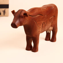 Load image into Gallery viewer, Wooden 3-D Cow Puzzle Mahogany - Puzzles - pucciManuli