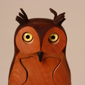 Wooden 3-D Great Horned Owl Puzzle - Puzzles - pucciManuli