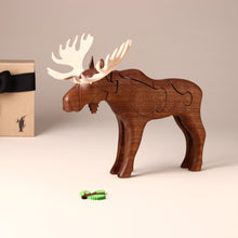 Load image into Gallery viewer, Wooden 3-D Moose Puzzle Walnut - Puzzles - pucciManuli