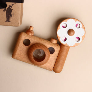 Wooden 35mm Camera with Flash Kaleidoscope - Pretend Play - pucciManuli