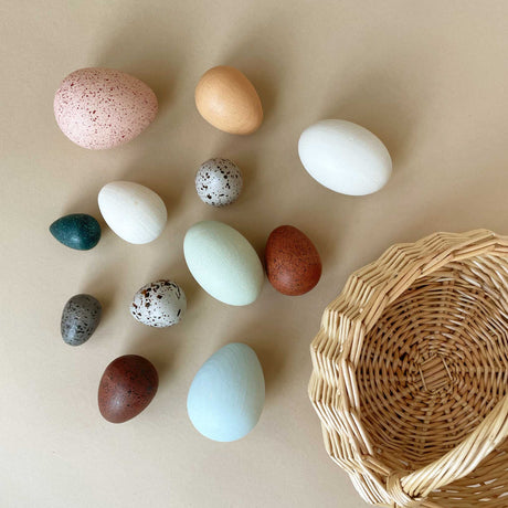Wooden Bird Eggs with Basket - Pretend Play - pucciManuli