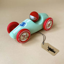 Load image into Gallery viewer, large-mint-wooden-race-car-with-red-and-blue-accents