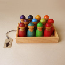 Load image into Gallery viewer, 12-peg-dolls-in-darker-rainbow-shades-in-wooden-frame