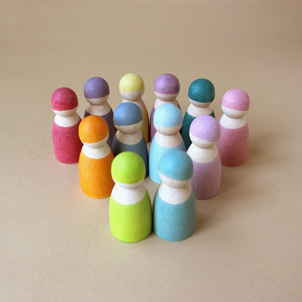 Wooden Rainbow Friends | Pastel - Figurines - pucciManuli