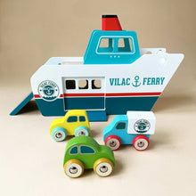 Load image into Gallery viewer, wooden-blue-and-white-ferry-boat-with-three-cars