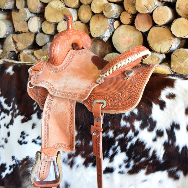 A custom leather Barrel Saddle by Jay's Saddles in Tennessee