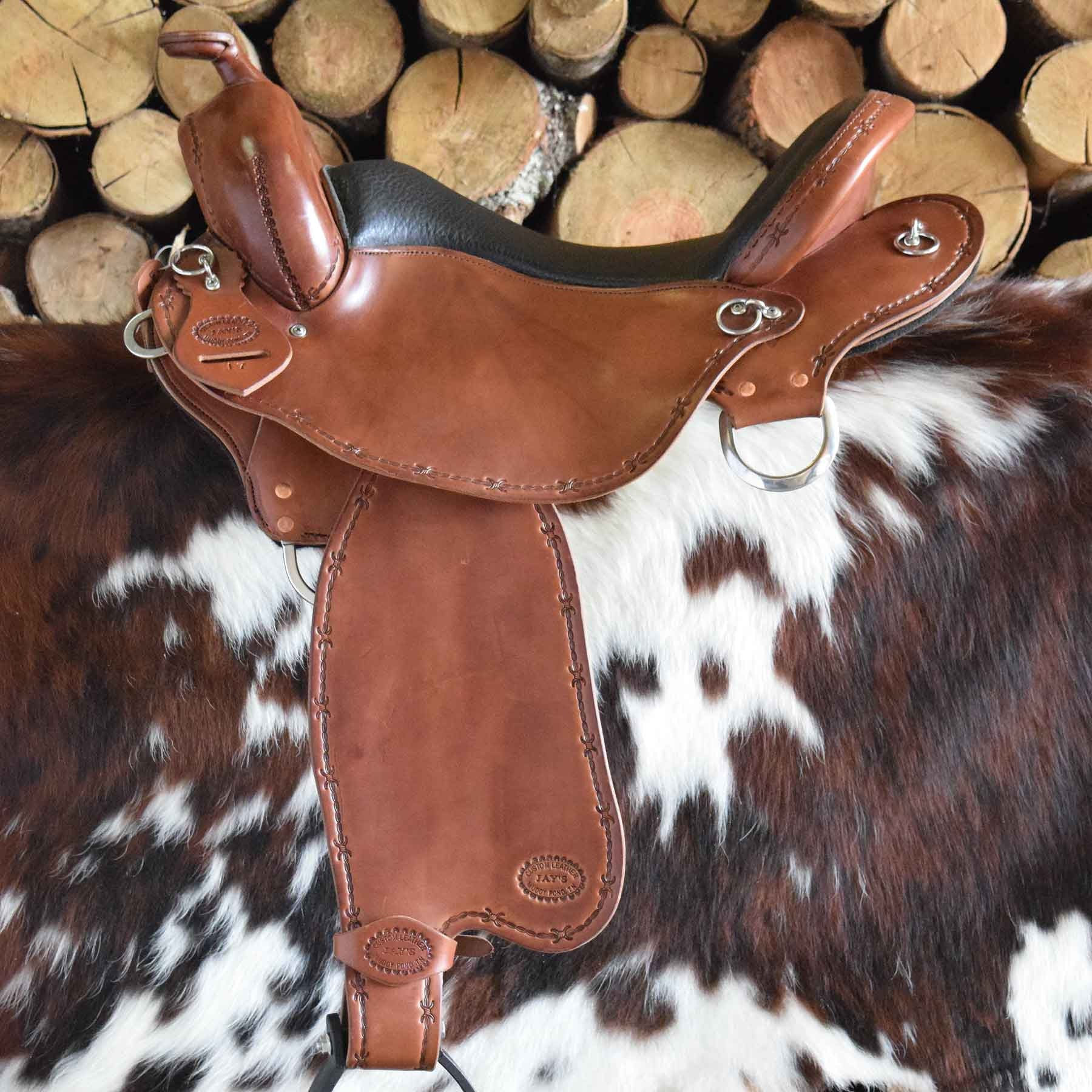 A custom leather Trail Lite /Endurance Saddle by Jay's Saddles in Tennessee