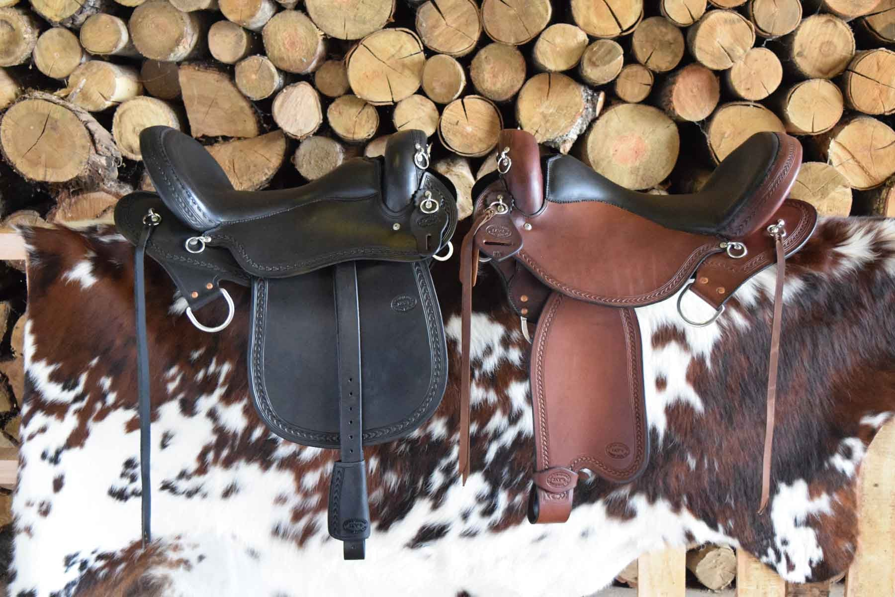 Two custom leather Trail Lite /Endurance Saddles by Jay's Saddles in Tennessee