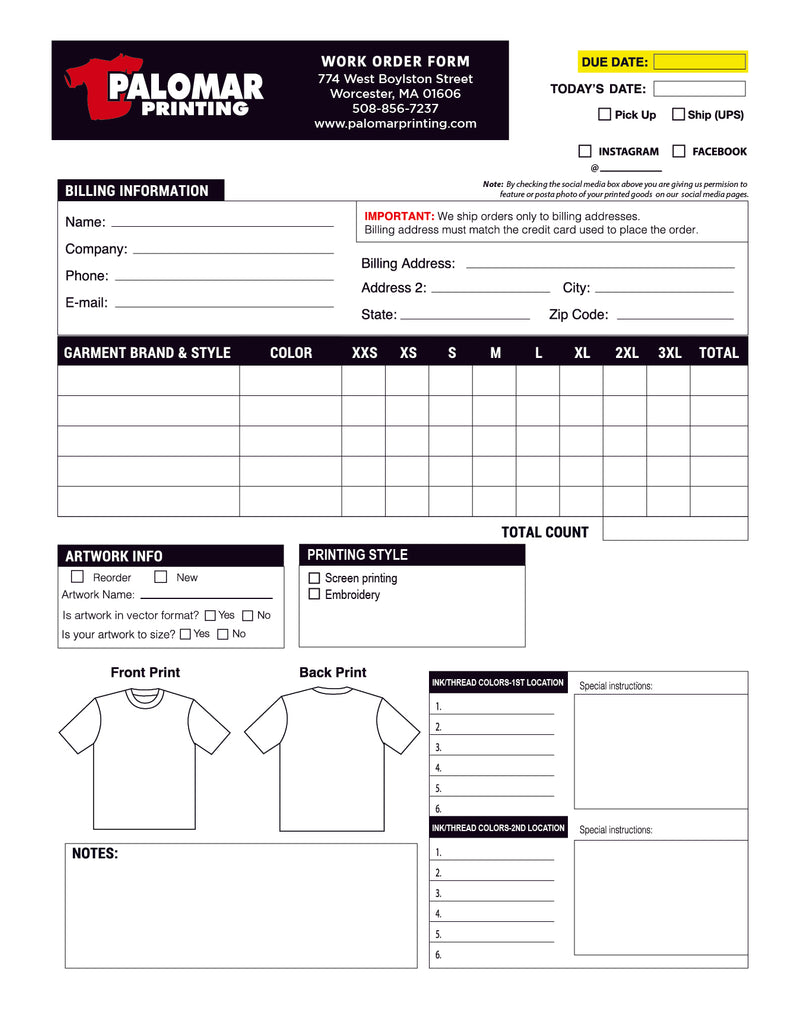 Order forms palomar printing for Order screen printed shirts