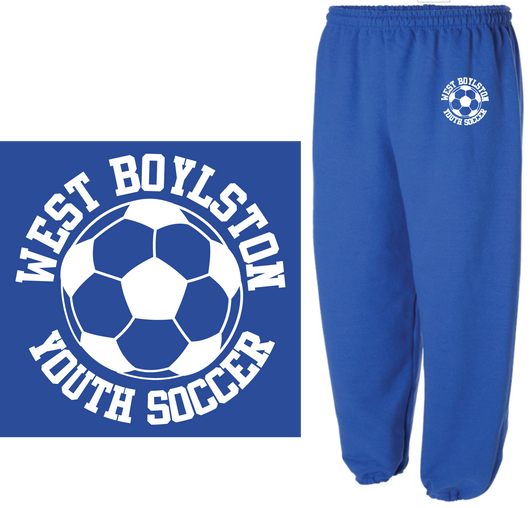 WBYS G182b  (YOUTH)  royal blue sweatpants  Embroidered