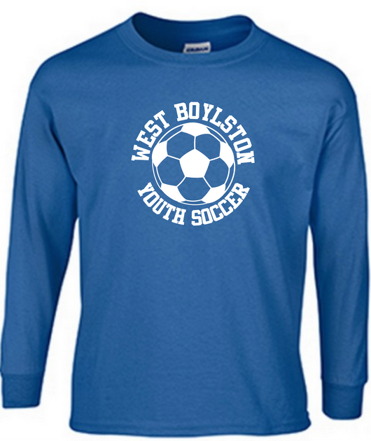 WBYS G2400b  (YOUTH)   royal blue long sleeve shirt