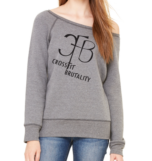 (Crossfit Brutality)  7501 Bella + Canvas Ladies' Sponge Fleece Wide Neck Sweatshirt
