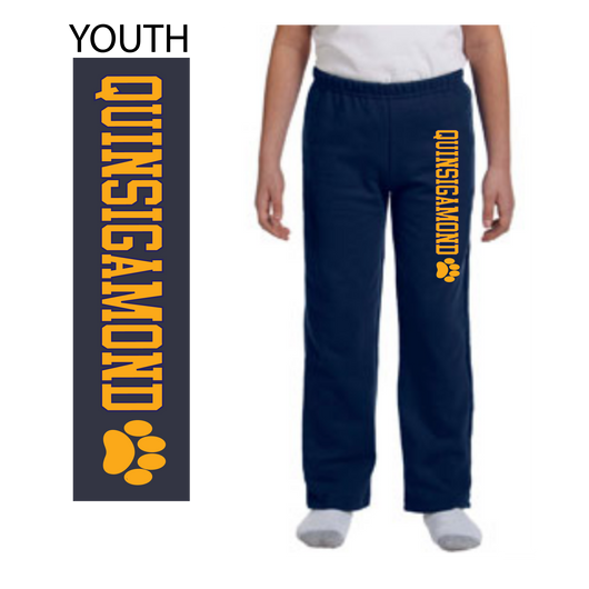 QCC- G184B Navy blue YOUTH open bottom sweatpants
