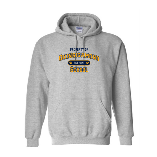 QCC- G185  Sports Grey ADULT  hooded sweatshirt